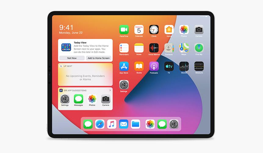 An iPad running iPadOS 14 WWDC 2020