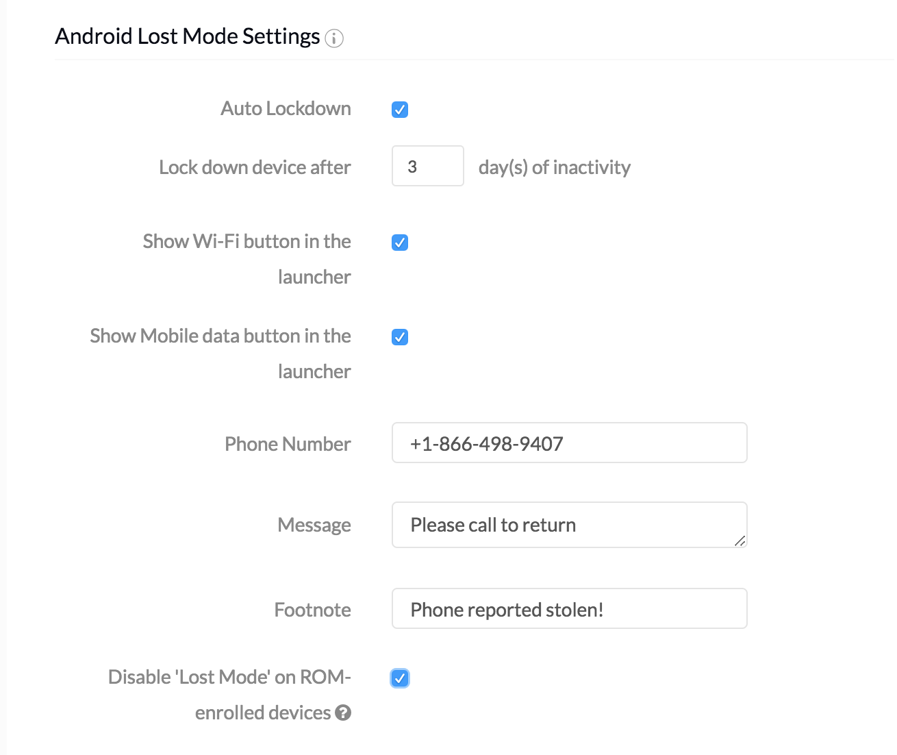 Android lost mode settings