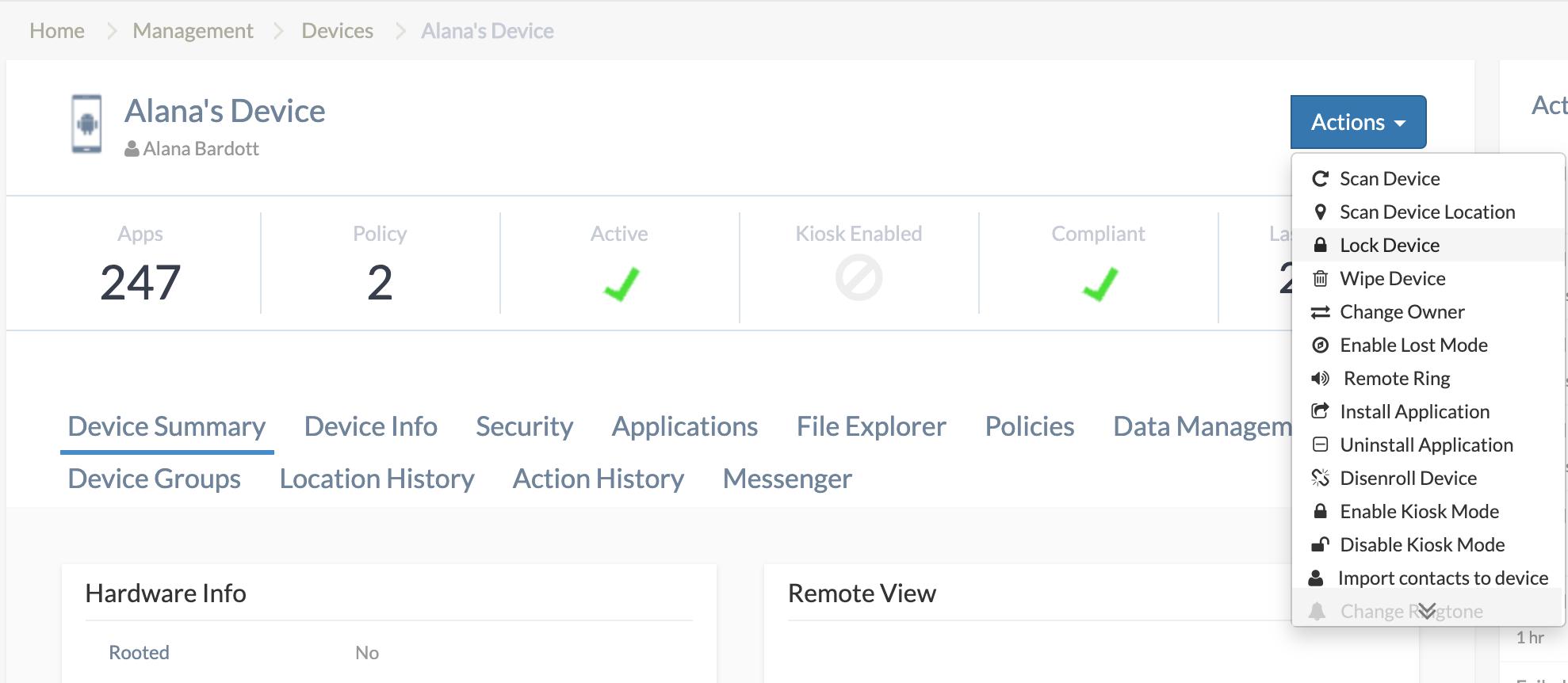 Remote lock using Hexnode