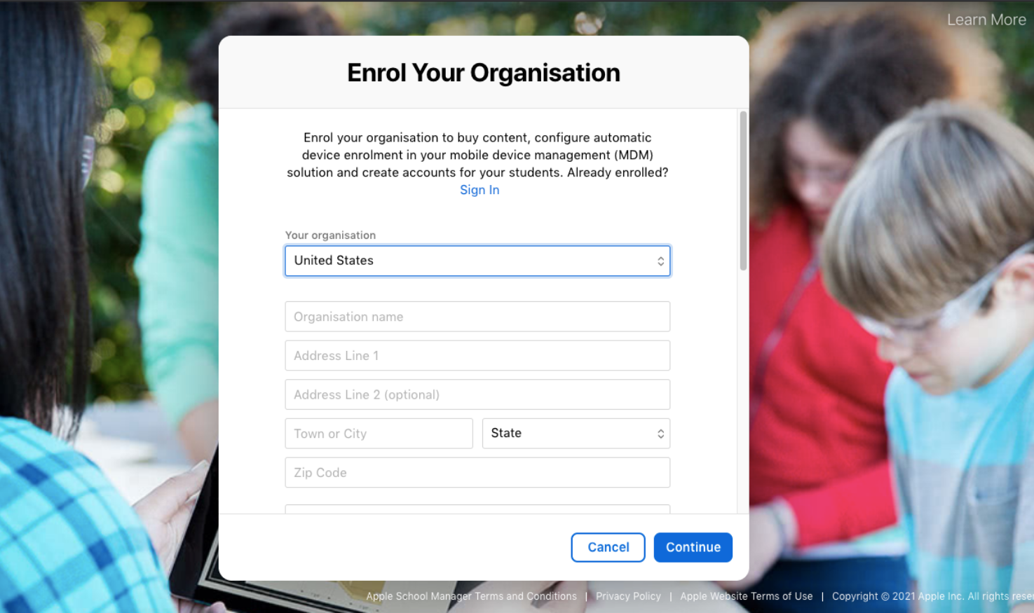 Apple School Manager sign-up page