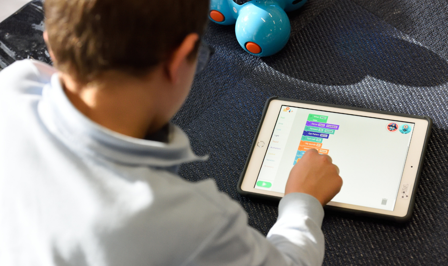 Student learning on an iPad