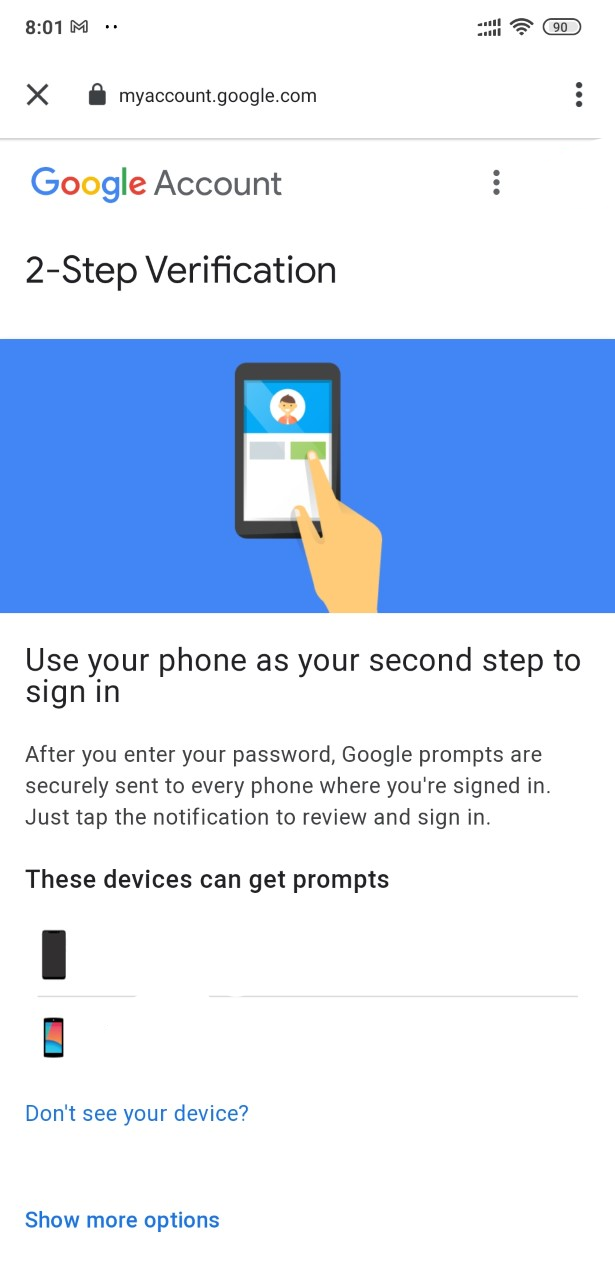 Setting up Two-Factor verification for a Google account.