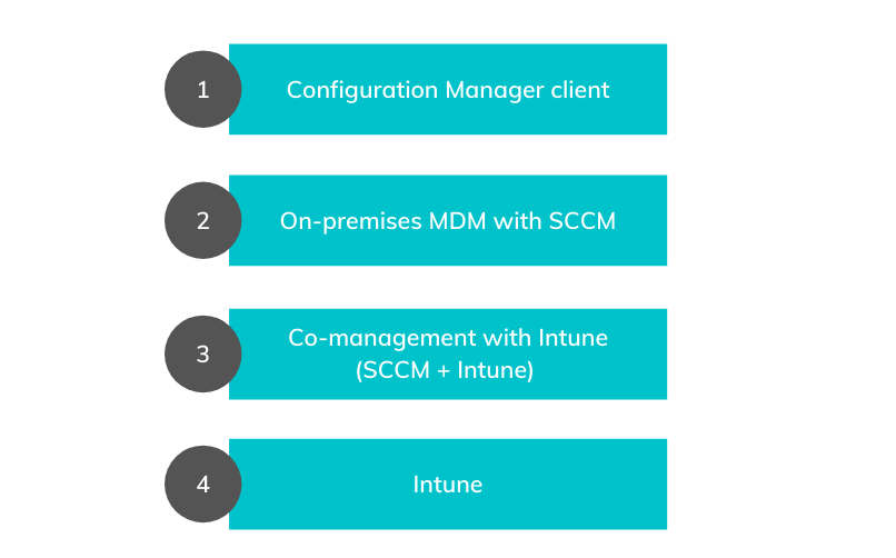 Management options provided by Microsoft