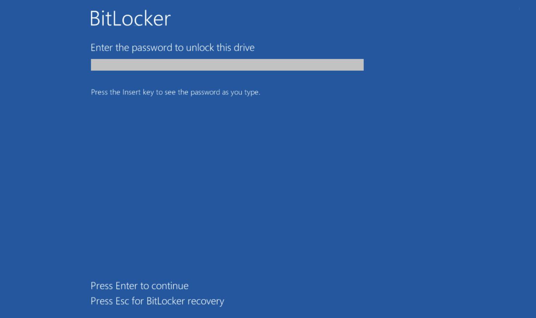 BitLocker password on system startup