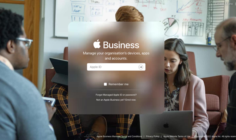 Apple Business Manager login screen