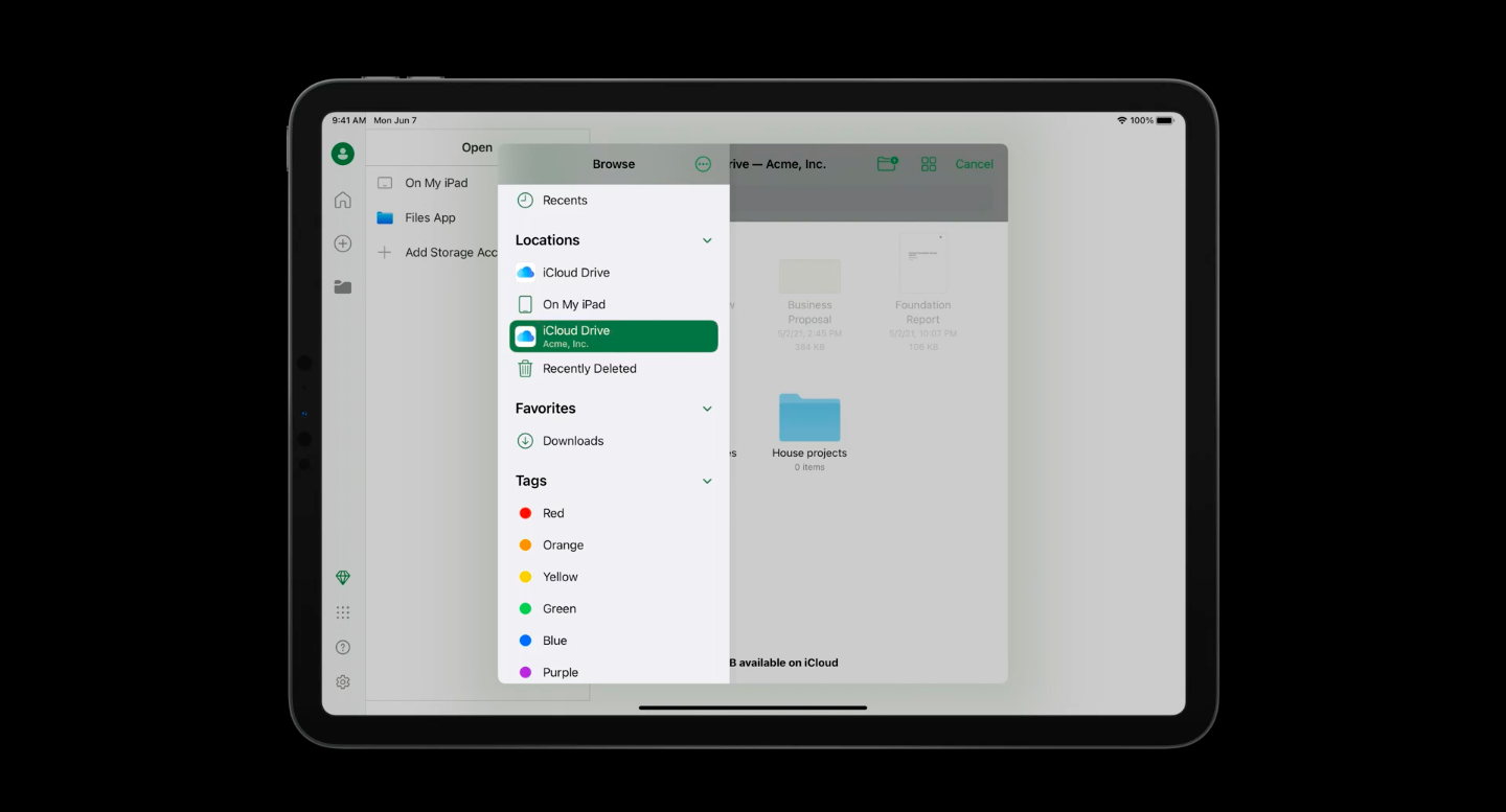 iCloud drive for Document Browser-based apps account driven user enrollment