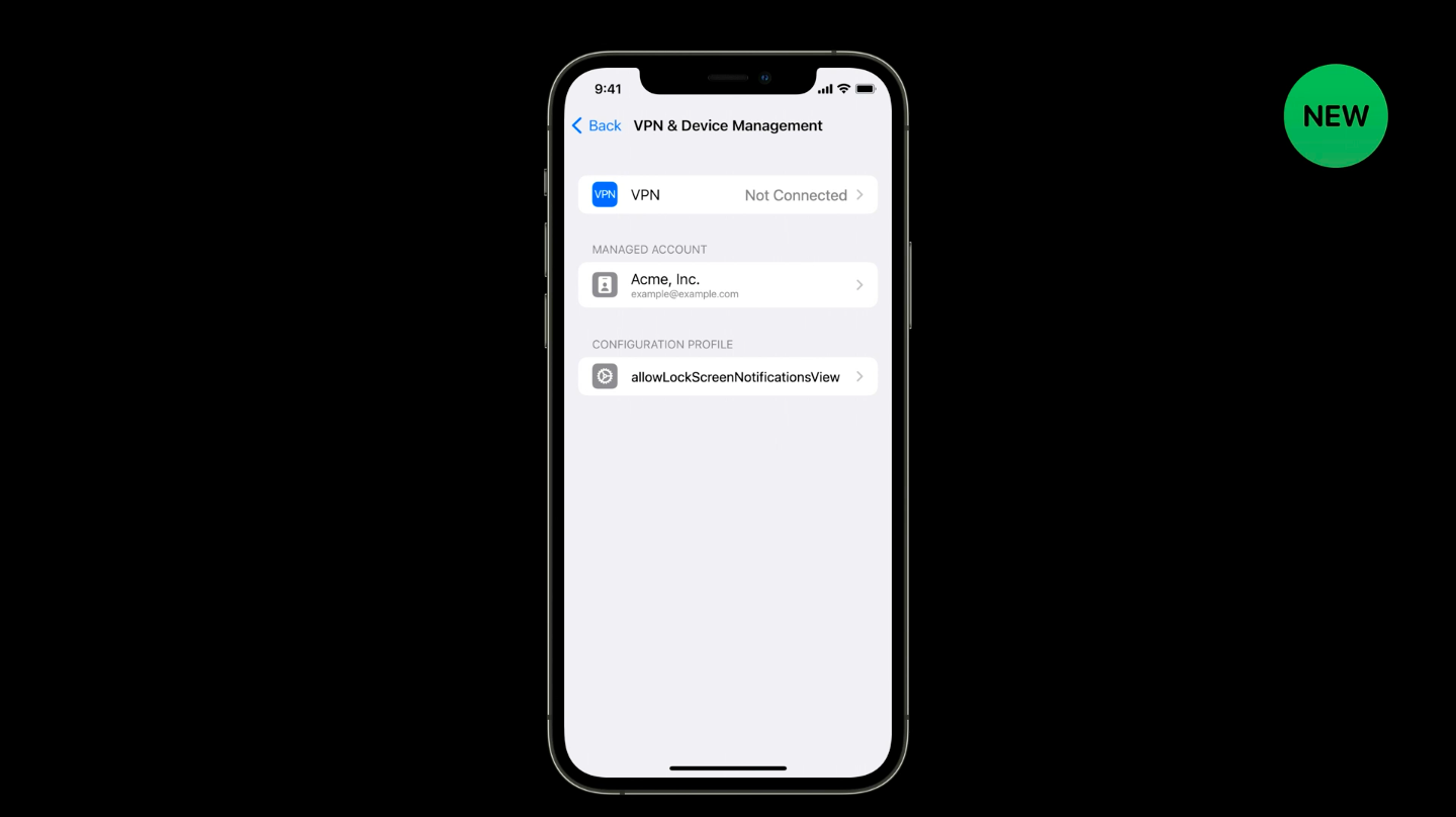VPN and device management WWDC 2021