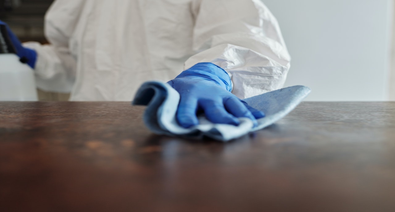 the deep cleaning and disinfection with sanctioned chemicals