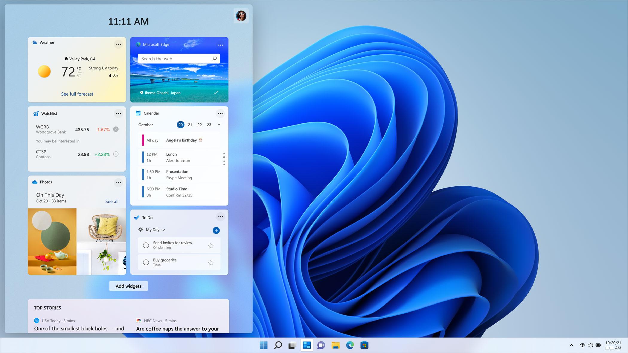 Windows 11 in business Widget screen