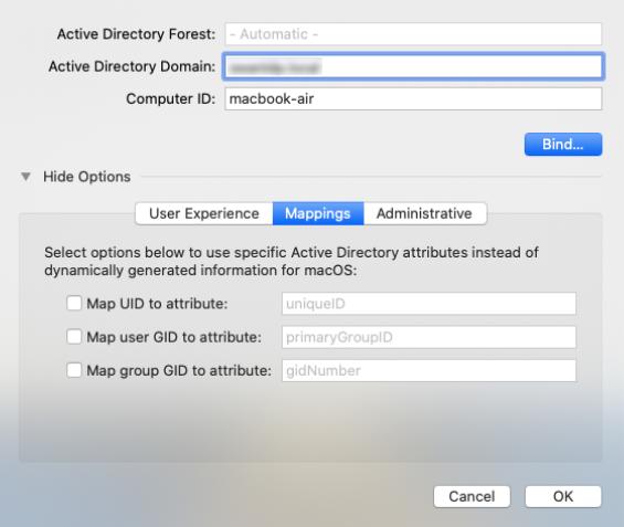 Modify directory service settings - Mappings