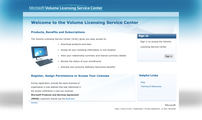 Microsoft Volume Licensing Service Center (VLSC) login page