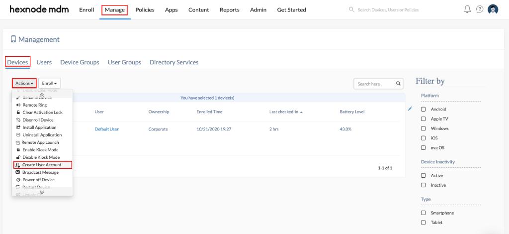 Create user account for Mac