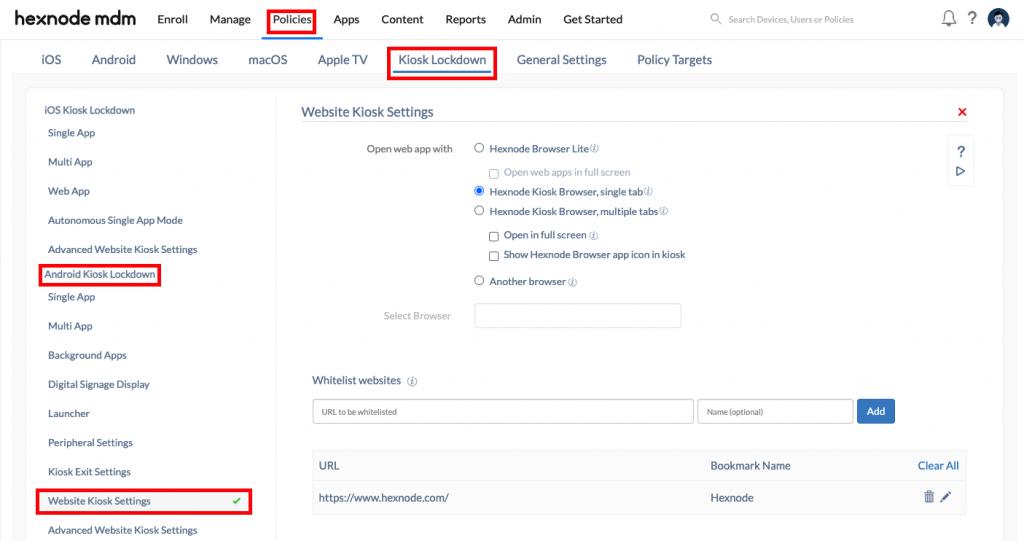 Configuring Hexnode Kiosk Browser