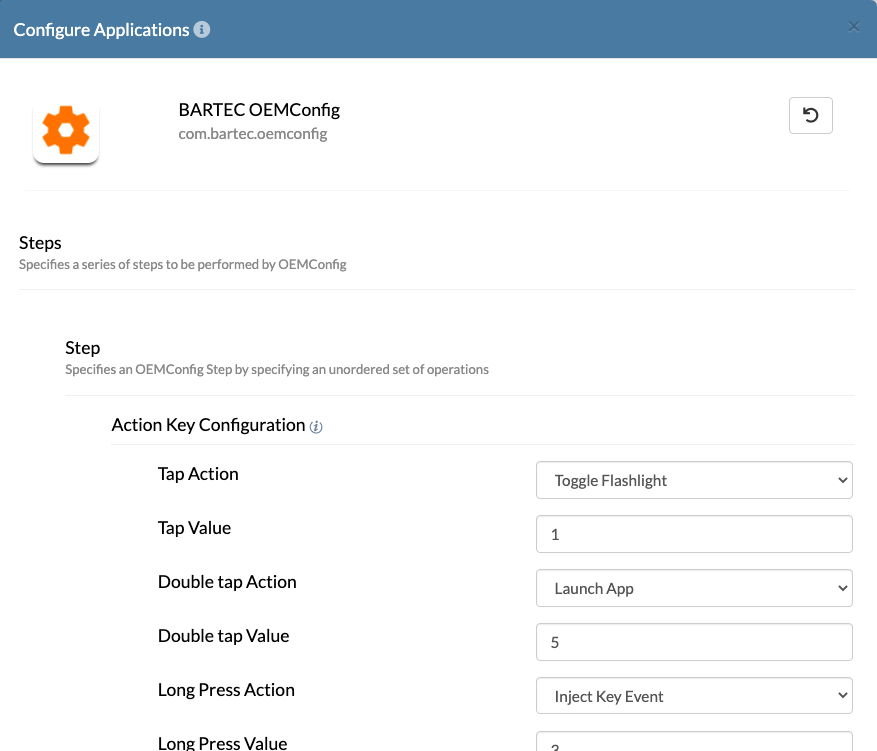 Configure device-specific configurations for Bartec devices with OEMConfig