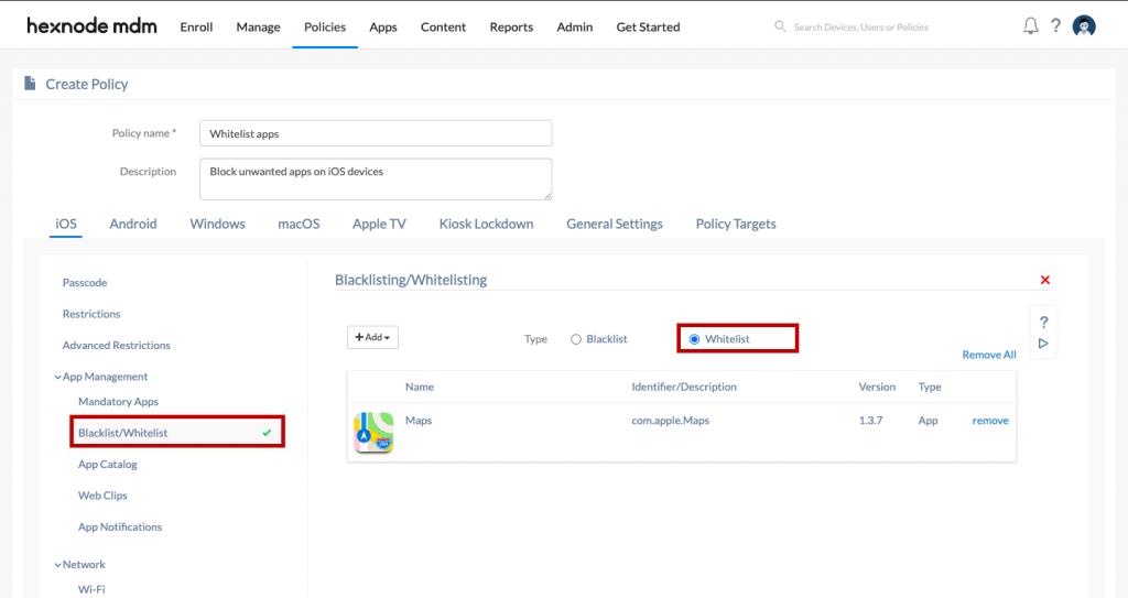 Whitelisting apps using Hexnode MDM