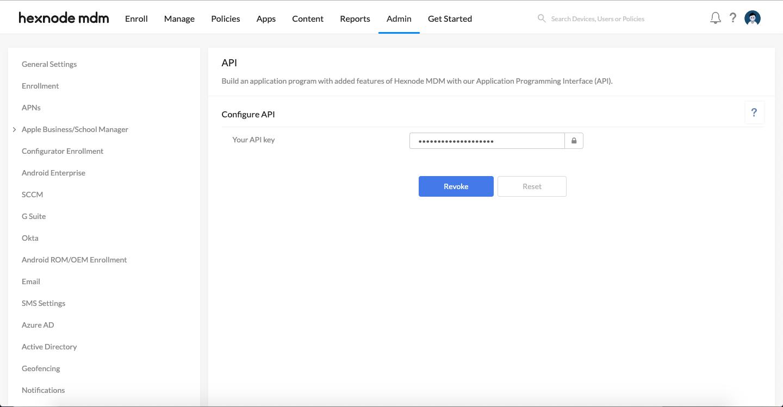 Obtaining the API key