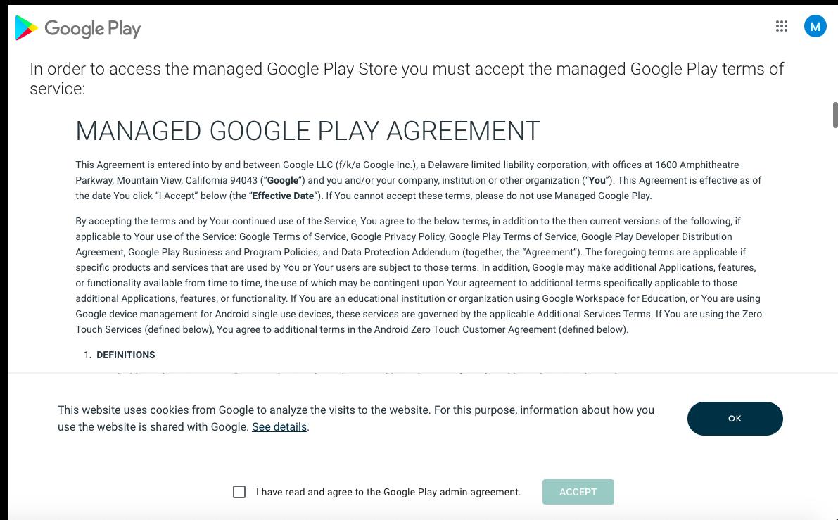 Google Play agreement