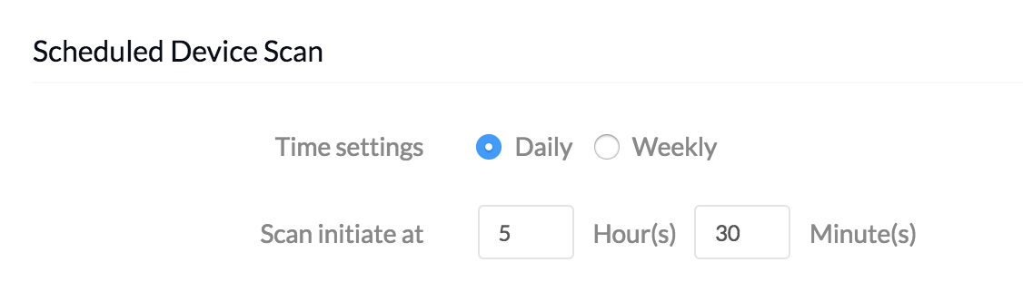 MDM Settings - Scheduled Device Scan Daily