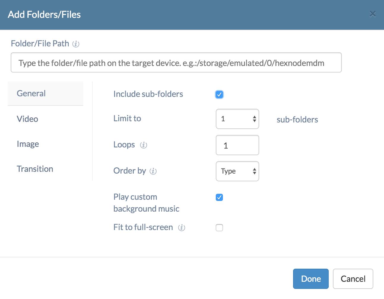 Adding folders/files