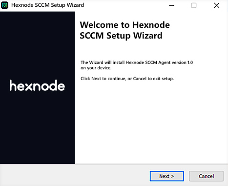 SCCM Agent App setup wizard window