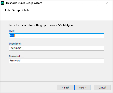 Hostname and user credentials to connect with SCCM server