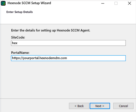 Site Code and portal name to integrate SCCM with Hexnode