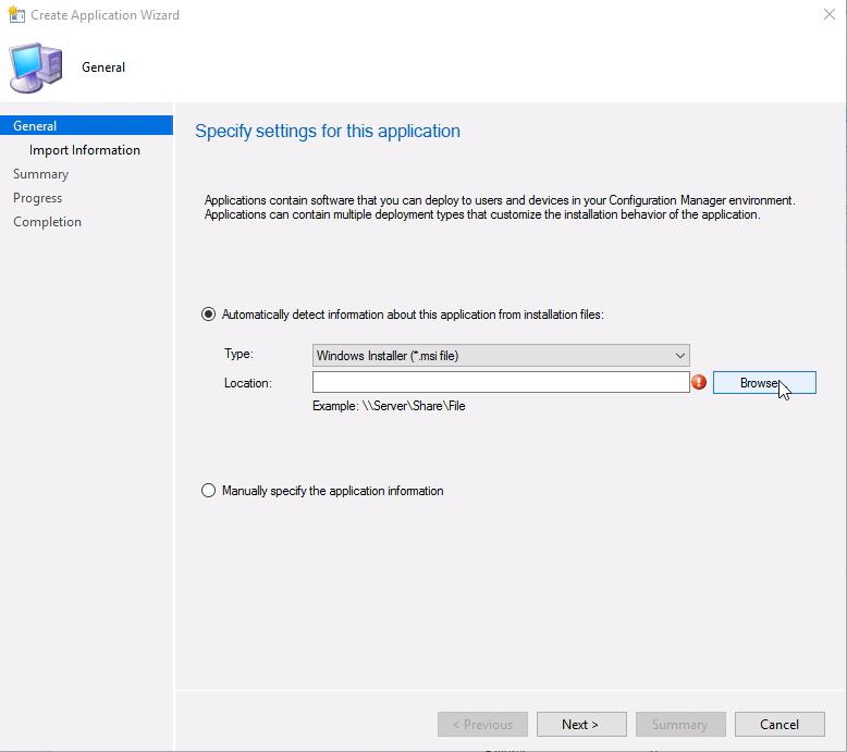 Windows msi file upload