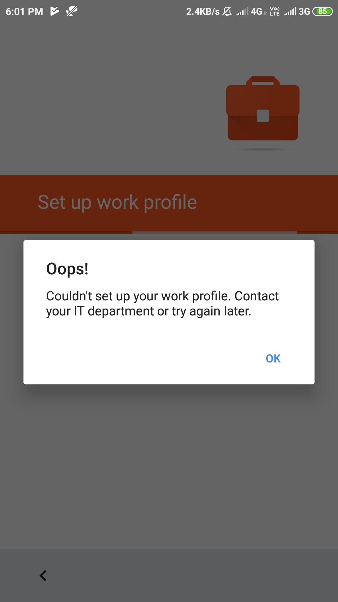 Error message while setting up work profile on the device.