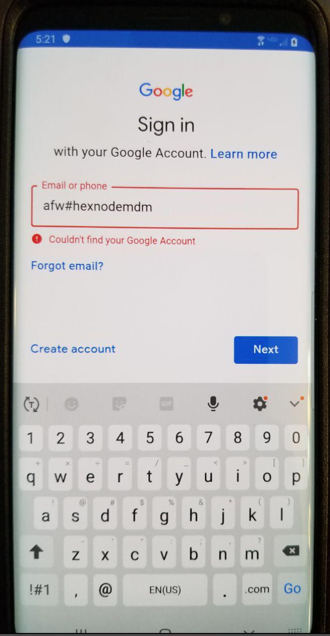 Error message Couldn't find your Google Account while enrolling using afw#hexnodemdm method.