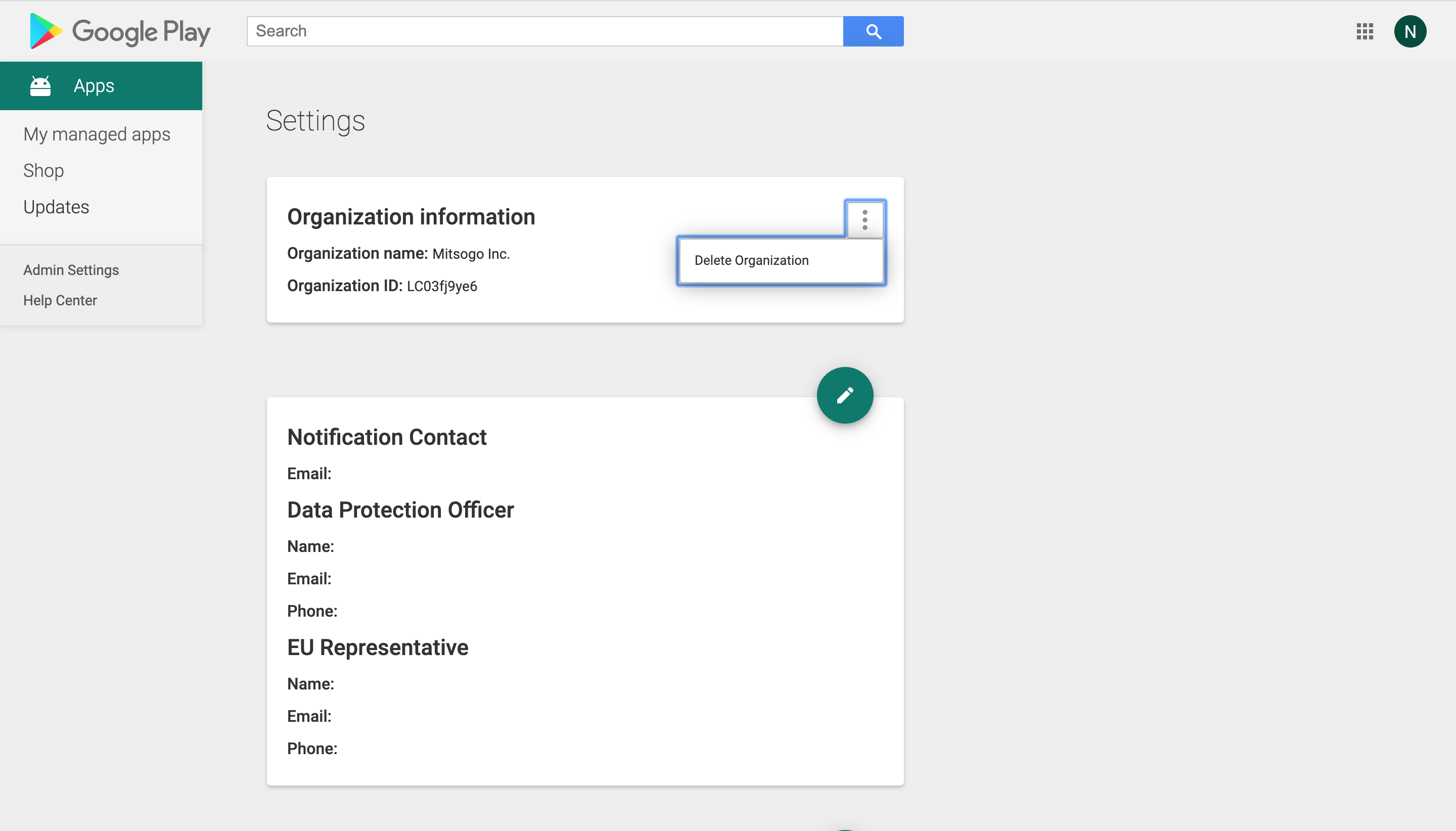 Delete Organization from Google Play Console
