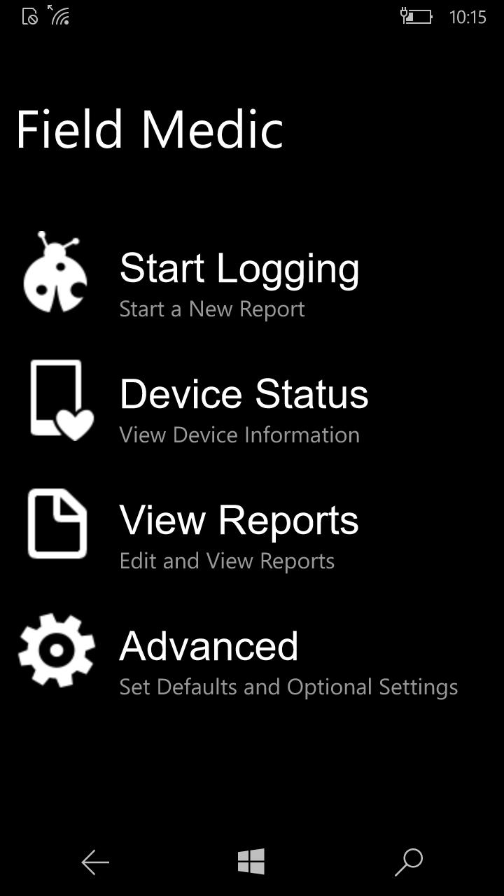 windows phone logs using fieldmedic