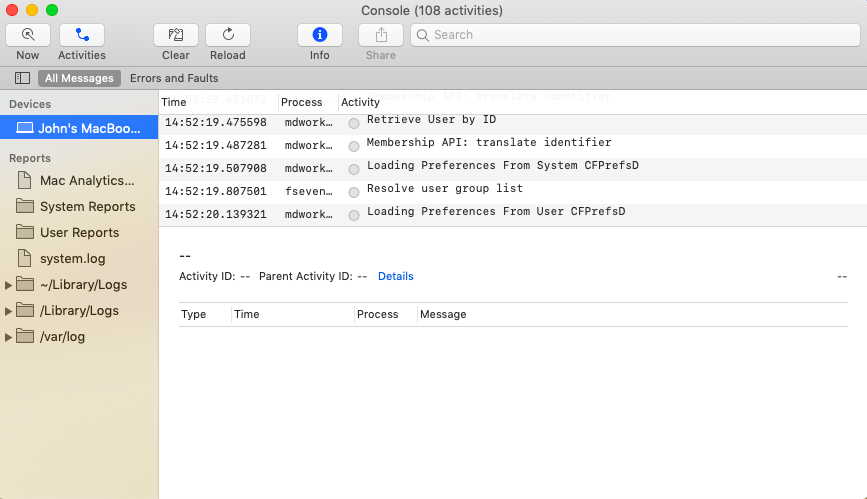 When the Activities button is ON, mac device logs are grouped by the activities they are associated with in Console app.