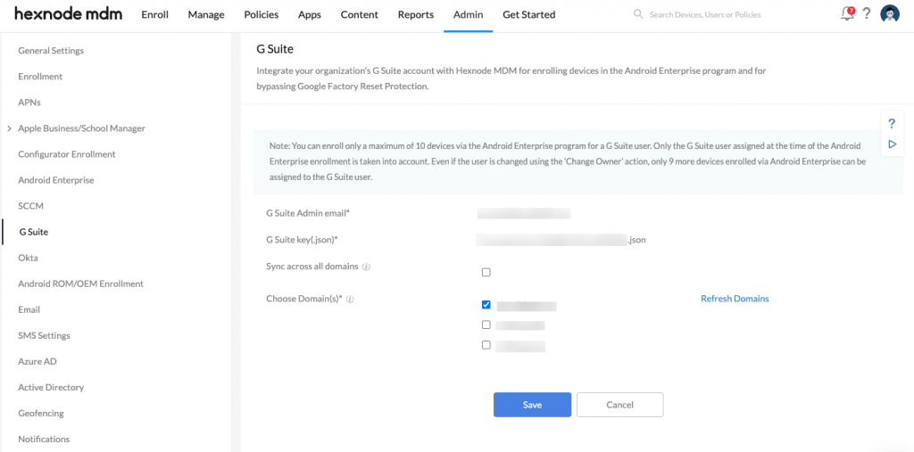 Integrating G Suite with Hexnode