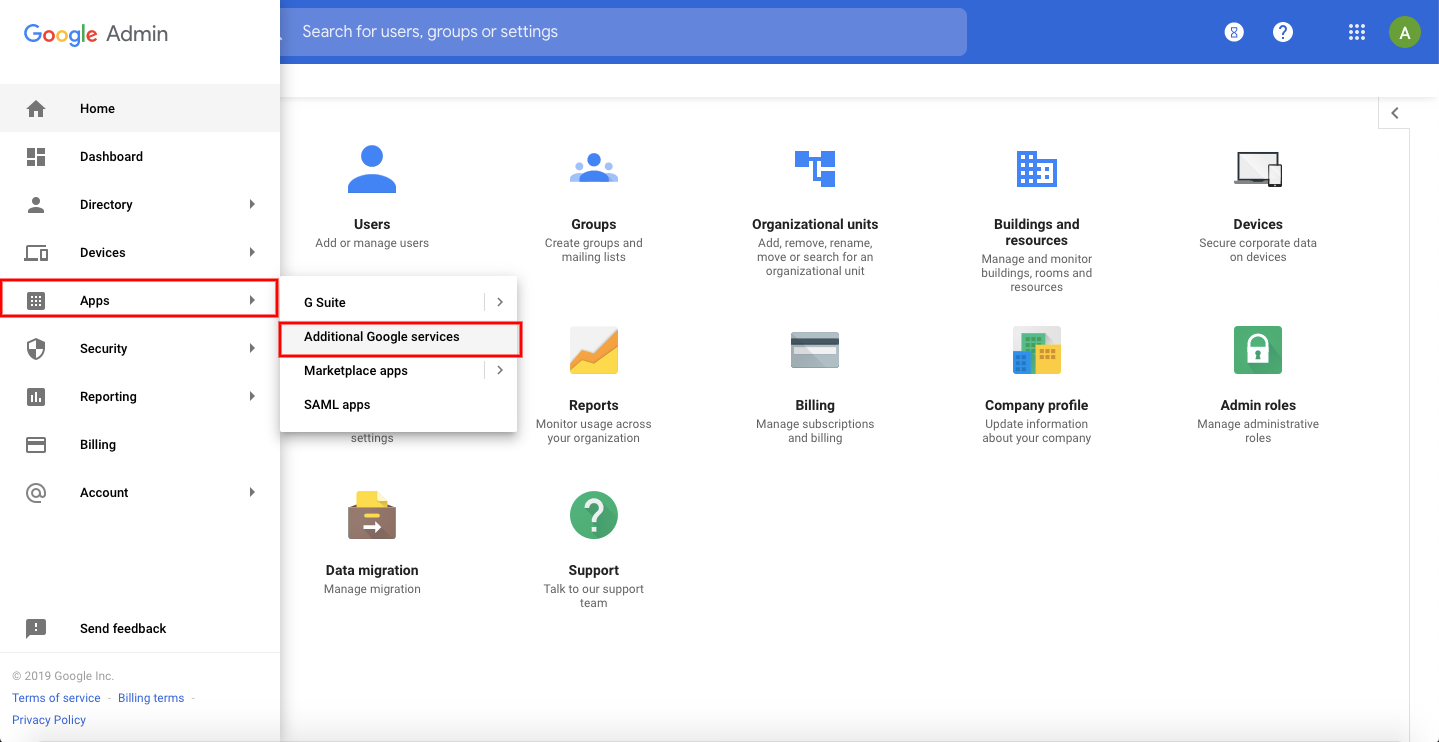 Additional Google Services settings in Google Admin Console