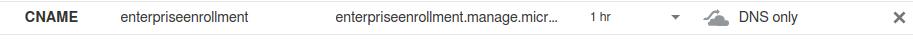 Enterprise enrollment CNAME record in DNS