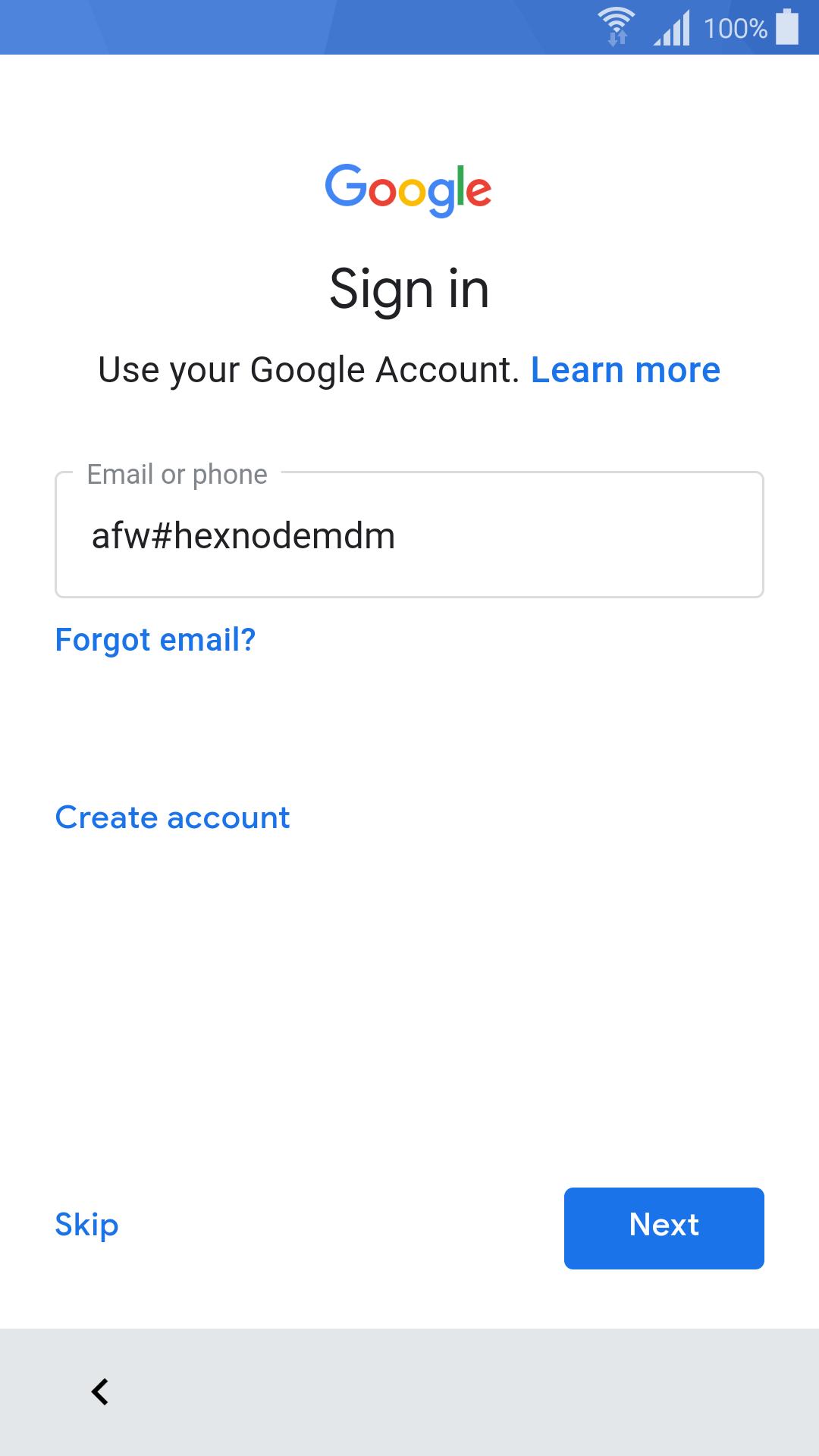 afw#hexnodemdm device owner enrollment