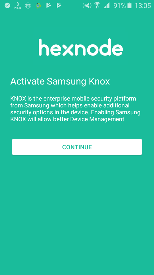 Hexnode app asks permission during enrollment in Samsung Knox devices