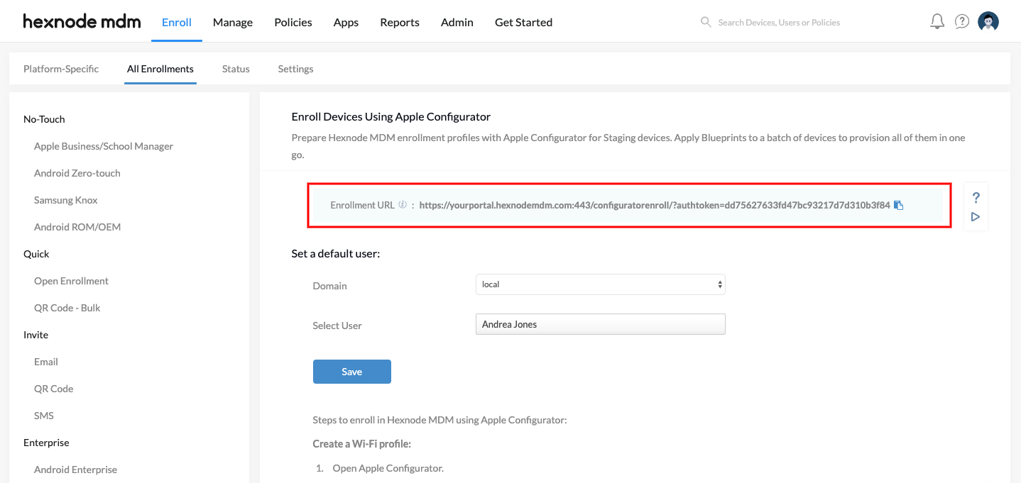 Enroll devices using Apple Configurator