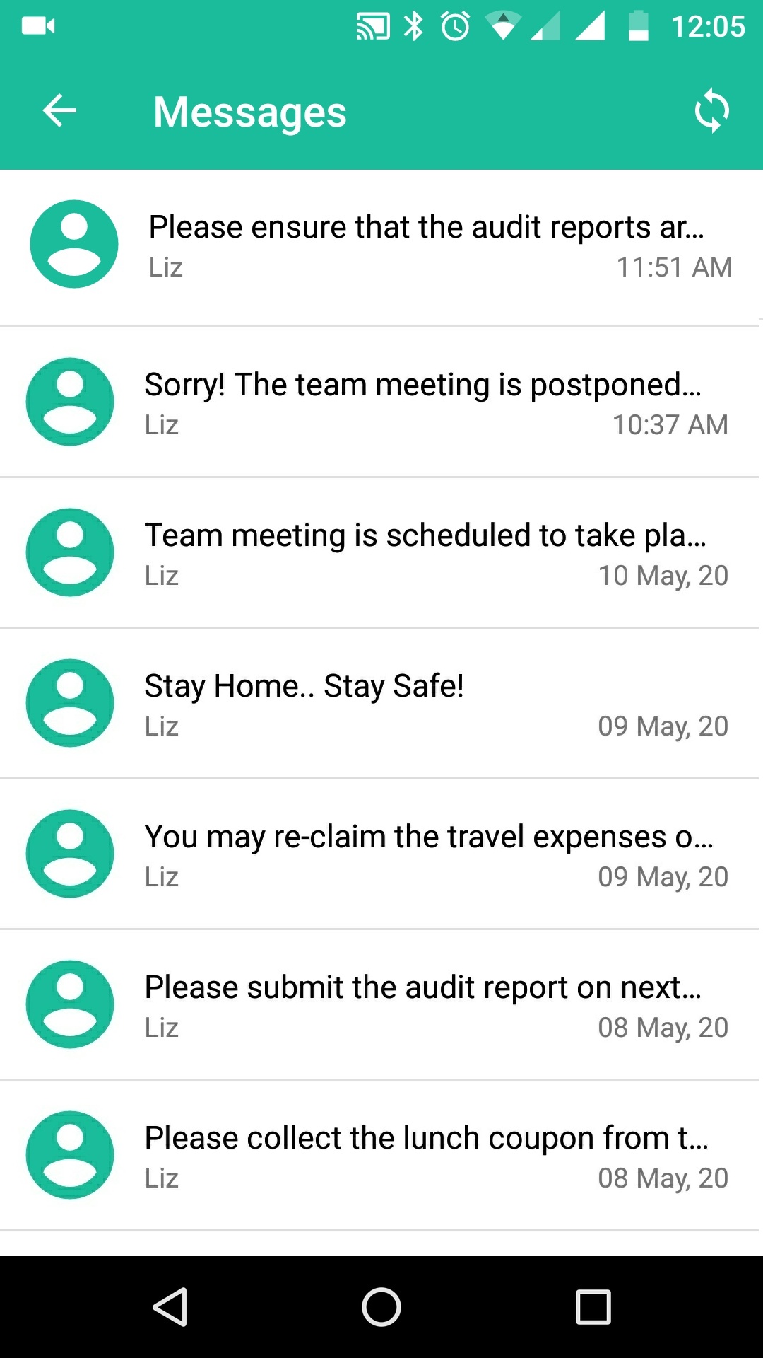 Messages from Hexnode messenger listed in device
