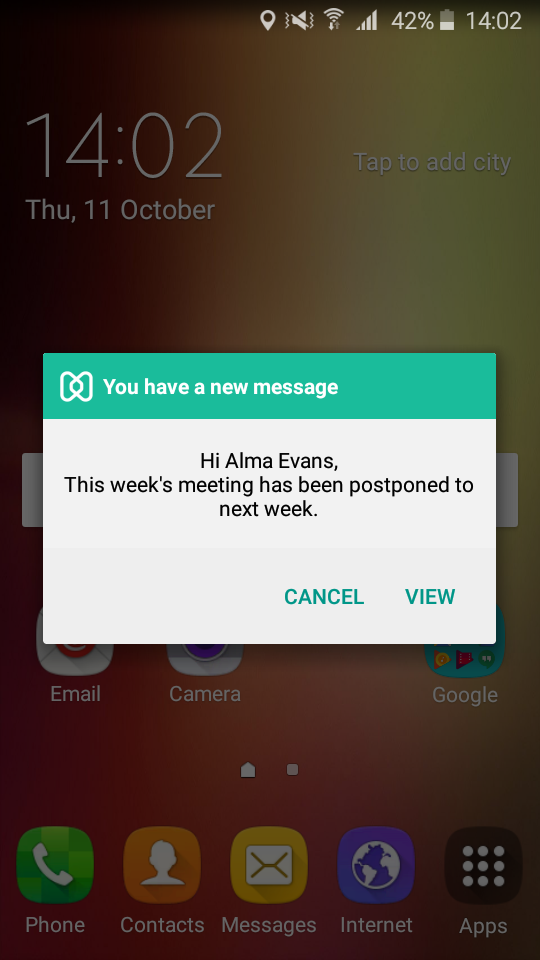 Broadcast message to an Android device enrolled in Hexnode mdm