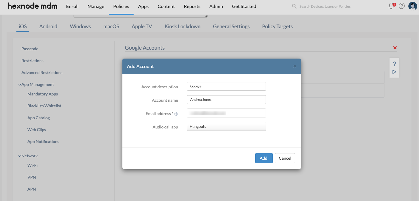 Google account set up on iOS devices