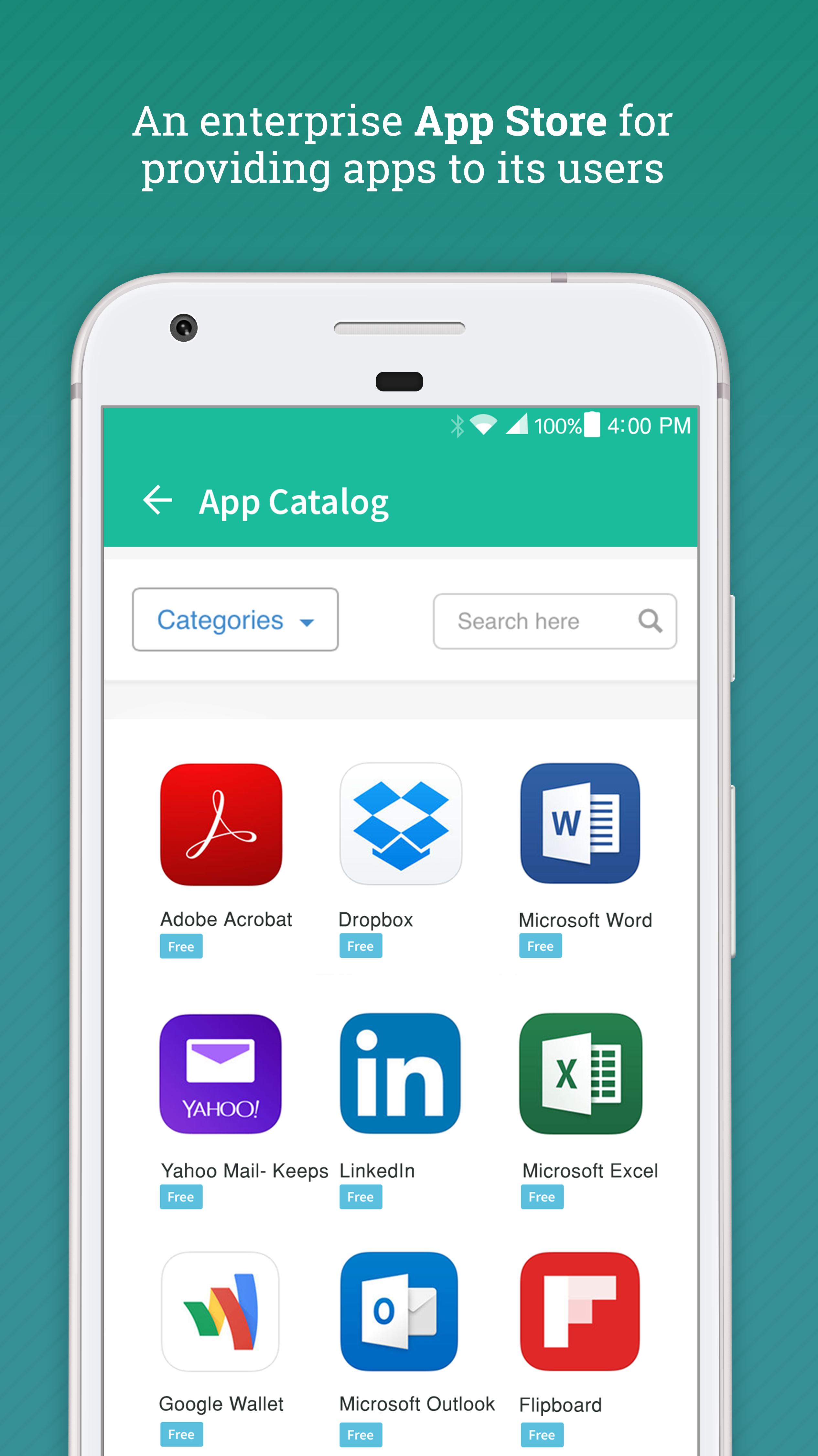 Enterprise app catalog in Hexnode MDM app