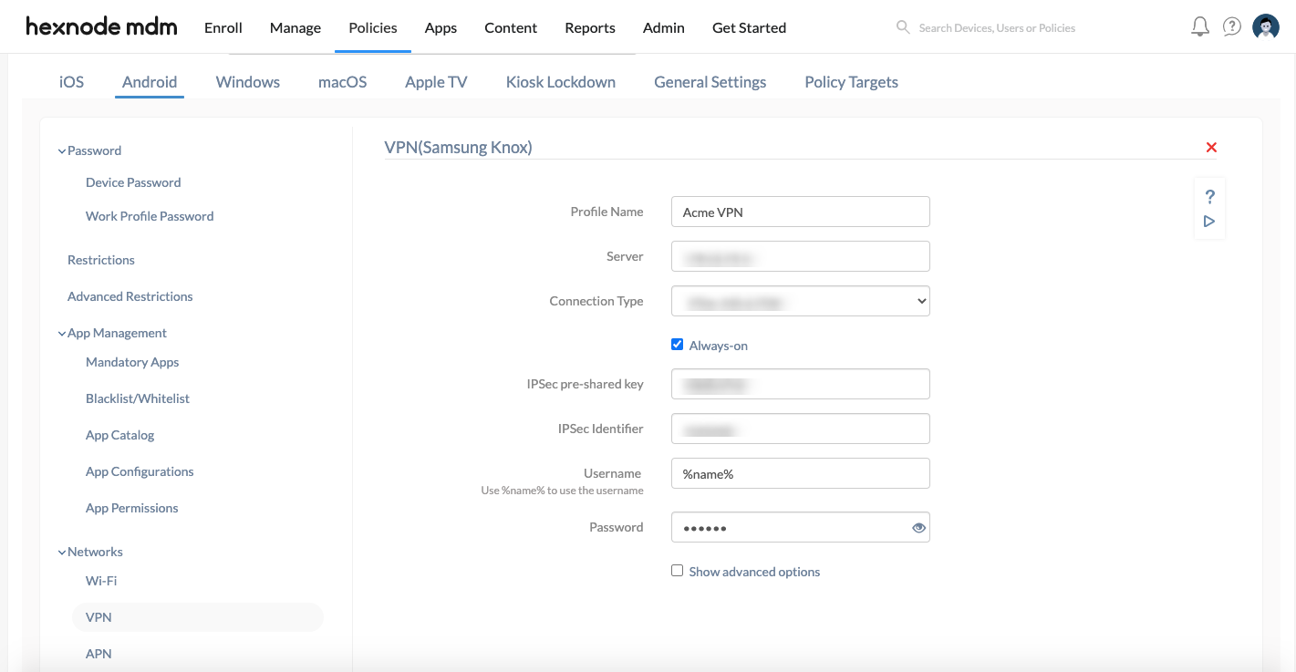Configure VPN for Android device using mdm