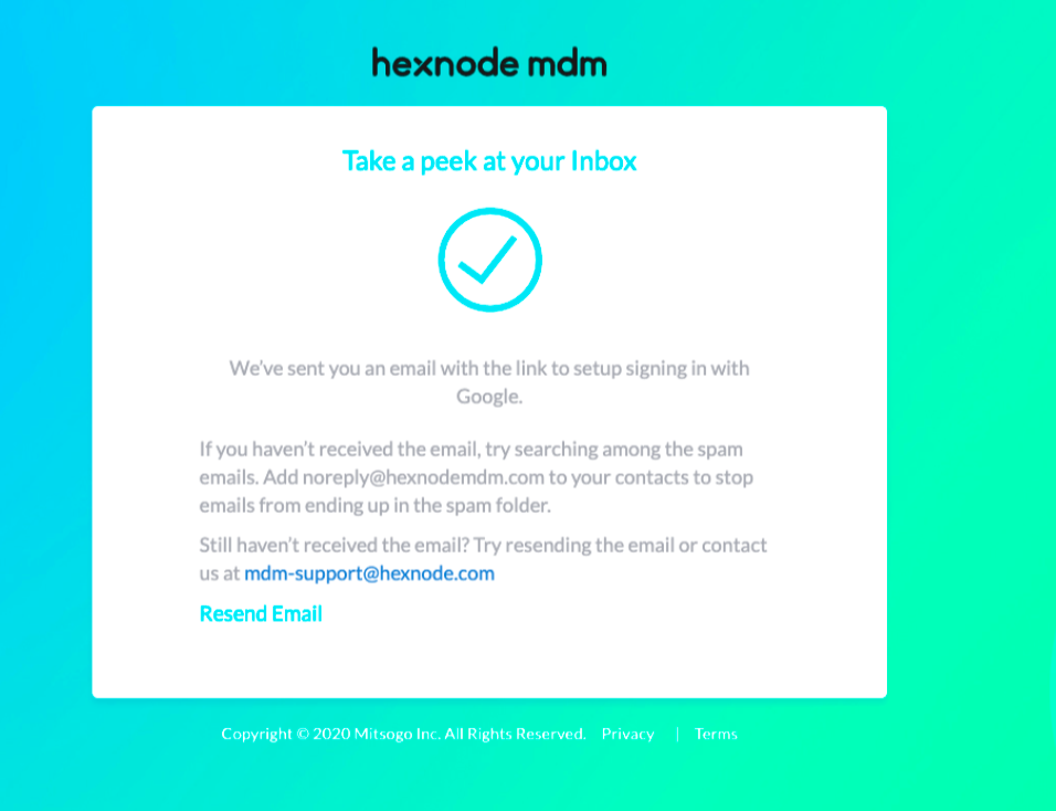 Message displayed while signing in without setting up the Google account