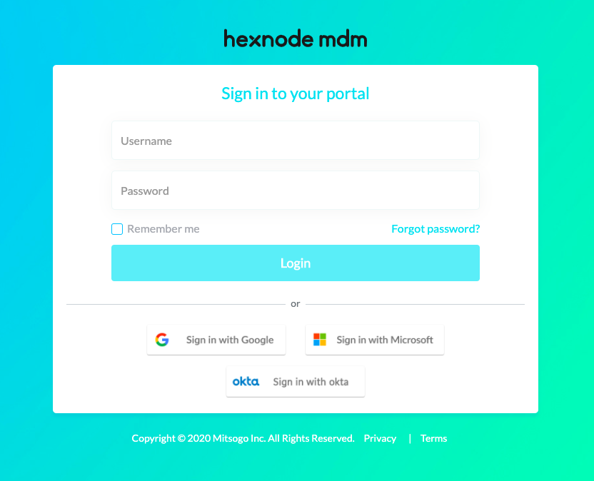 SSO login enabled sign in
