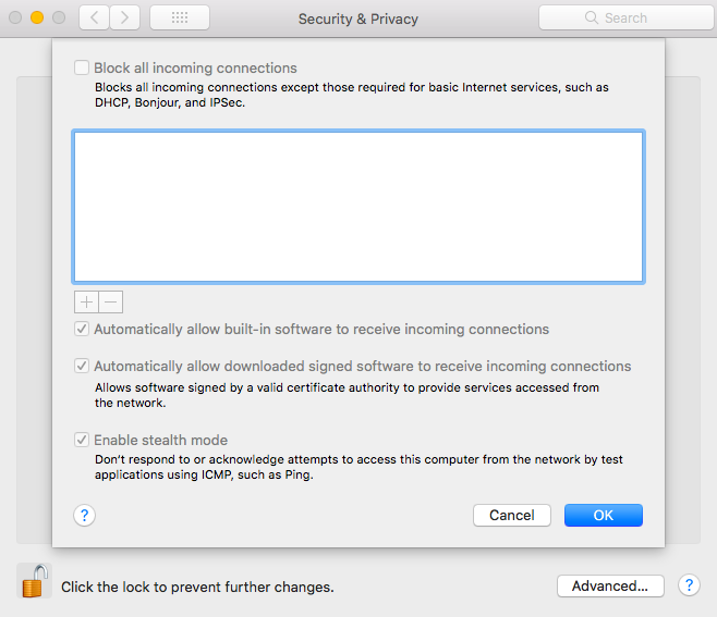 stealth mode enabled on macOS system settings