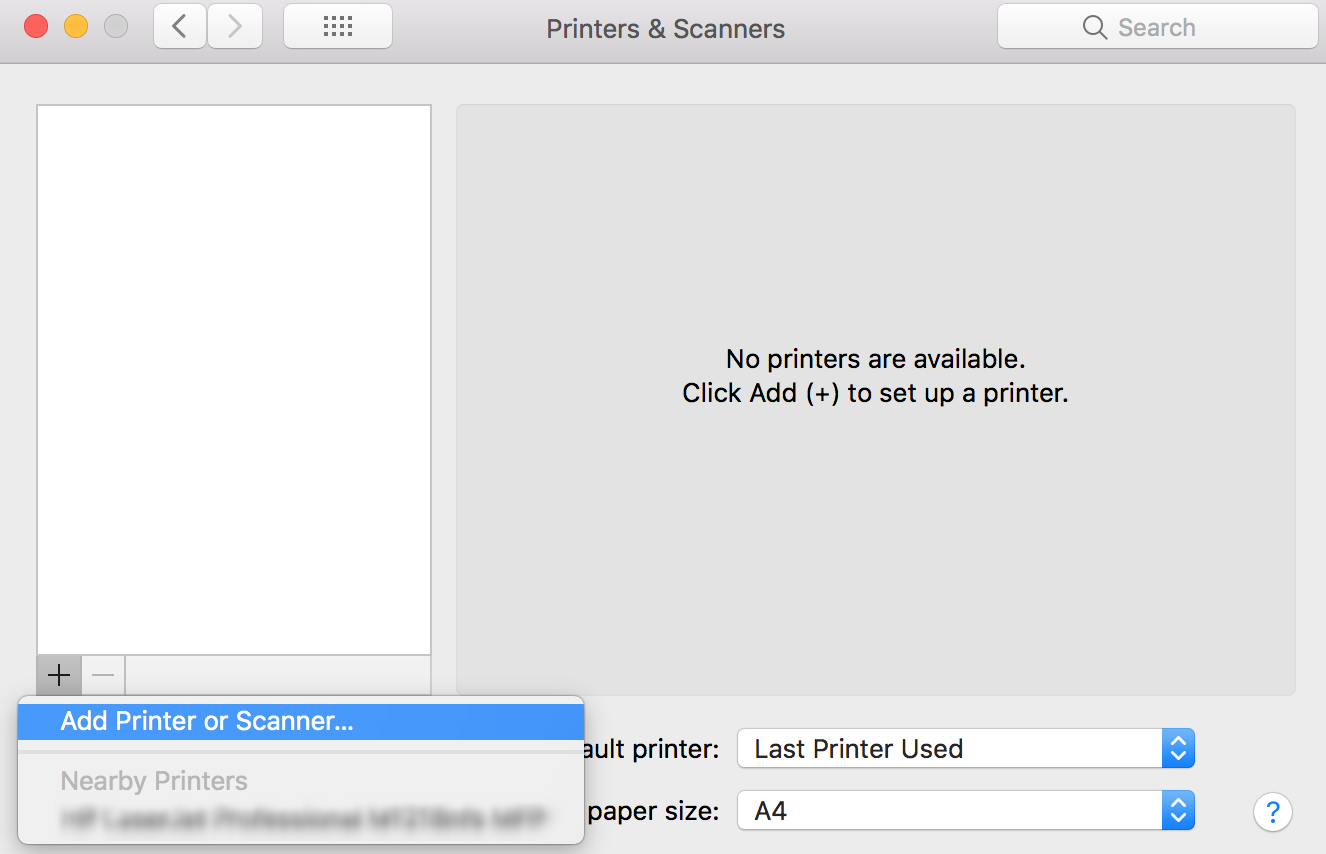 Add AirPrint Printers to the printers list under Printers & Scanners on Mac devices using Hexnode MDM