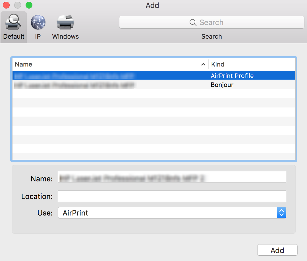Add AirPrint Printers to Mac devices from the list of printers added under AirPrint profile