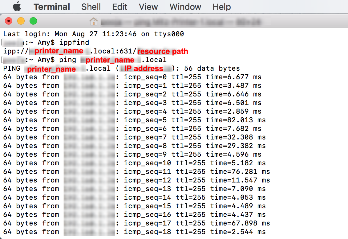 Get printer IP address and resource path using Terminal commands on Mac device