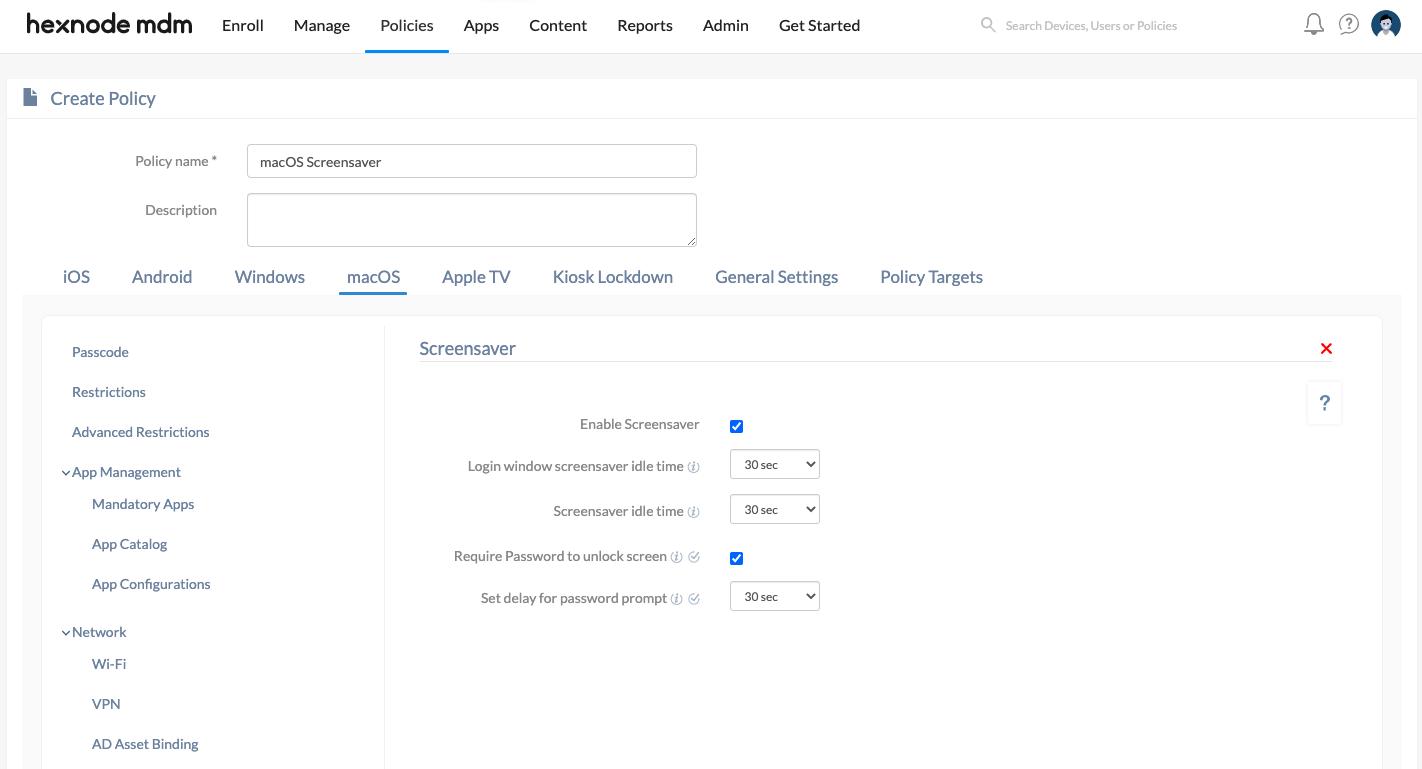 configure screensaver for macOS devices using Hexnode MDM
